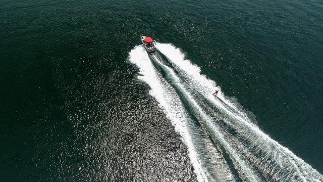 Speedboat in the ocean